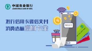 农业银行信用卡邀约客户微信支付消费达标返刷卡金活动